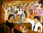 Ramos Fizz at the Sazerac Bar -- Ramos Fizz at the Sazerac Bar.  Interior showing one of the famous murals and serving the Ramos Gin Fizz.